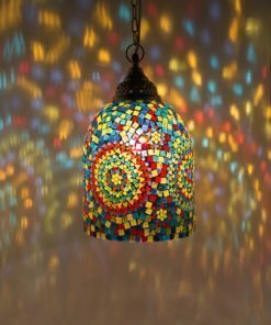 Mozaiek lamp multicolour Jaipur aan