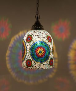 Mozaiek lamp multicolour wit Jaipur aan